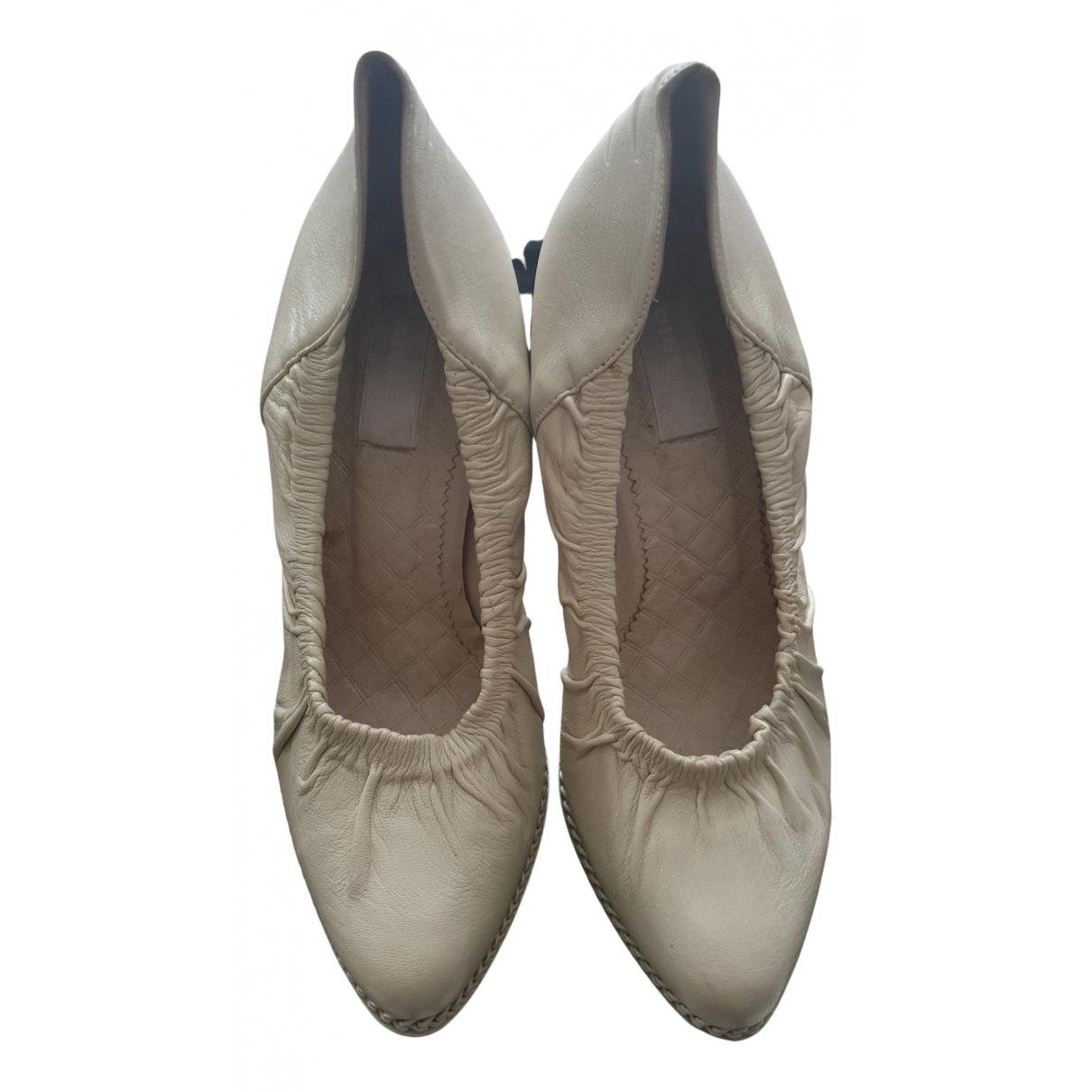 Diesel N Beige Leather Heels for Women 38 EU
