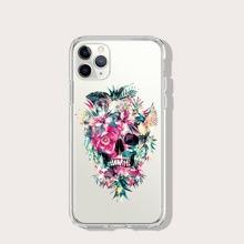 Skull & Flower Print iPhone Case