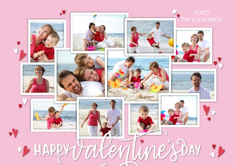 Valentine's Day Cards Flat Glossy Photo Paper Cards with Envelopes, 5x7, Card & Stationery -Valentine Collage Hearts by Tumbalina