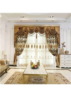 Luxurious and Elegant Golden Embroidered Floral Decorative Custom Sheer