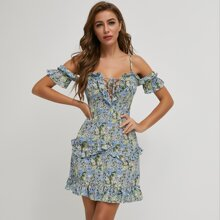 vestido floral con cordon ribete fruncido de hombros descubiertos