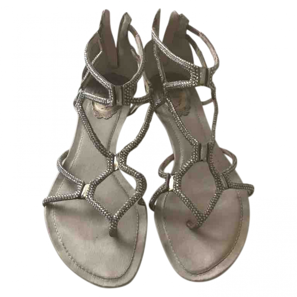Rene Caovilla \N Silver Leather Sandals for Women 38 EU