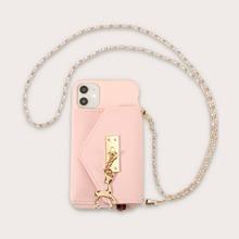 1 pieza funda de iphone de monedero con cadena