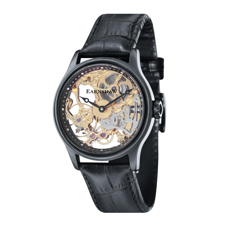 Thomas Earnshaw Men's Bauer Mechanical Skeleton ES-8049-08 Black Leather Automatic Self Wind Fashion Watch