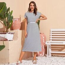 Horizontal Striped Rolled Cuff Dress