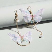 Butterfly & Ring Decor Chain Earrings