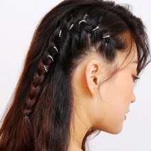 Metal Ball Detail Hair Ring Set 5pcs