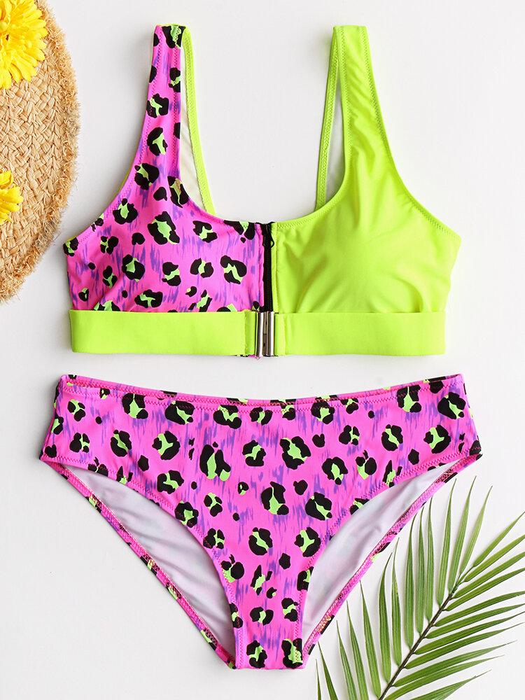 Women Vest Bikini Leopard Patchwork Front Buckle Zipper Sexy Swimwear