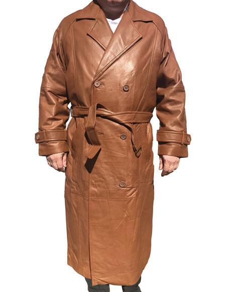 Mens Real Leather Long Trench Coat ~ Overcoat Khaki