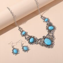 1pc Turquoise Decor Necklace & 1pair Earrings