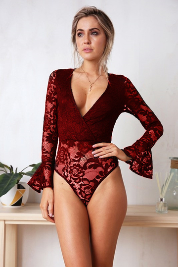 Yoins Burgundy Lace Deep-v Neck Bell Sleeves Bodysuit
