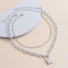 2pcs Lock Chain Necklace