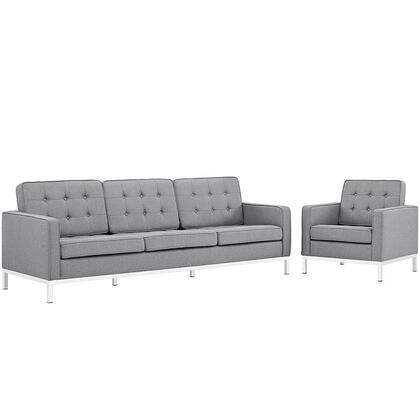Loft Collection EEI-2443-LGR-SET Living Room Set with Sofa  Armchair  Removable Zippered Cushion Cover  Track Arms  Stainless Steel Frame and