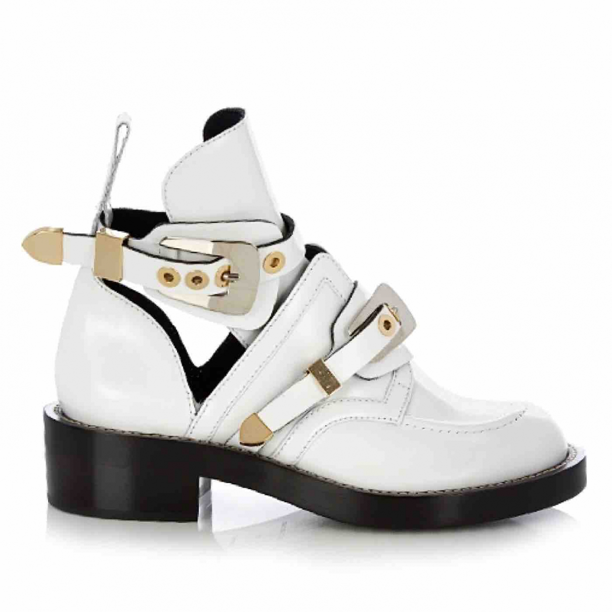 Balenciaga Ceinture White Leather Ankle boots for Women 40 EU
