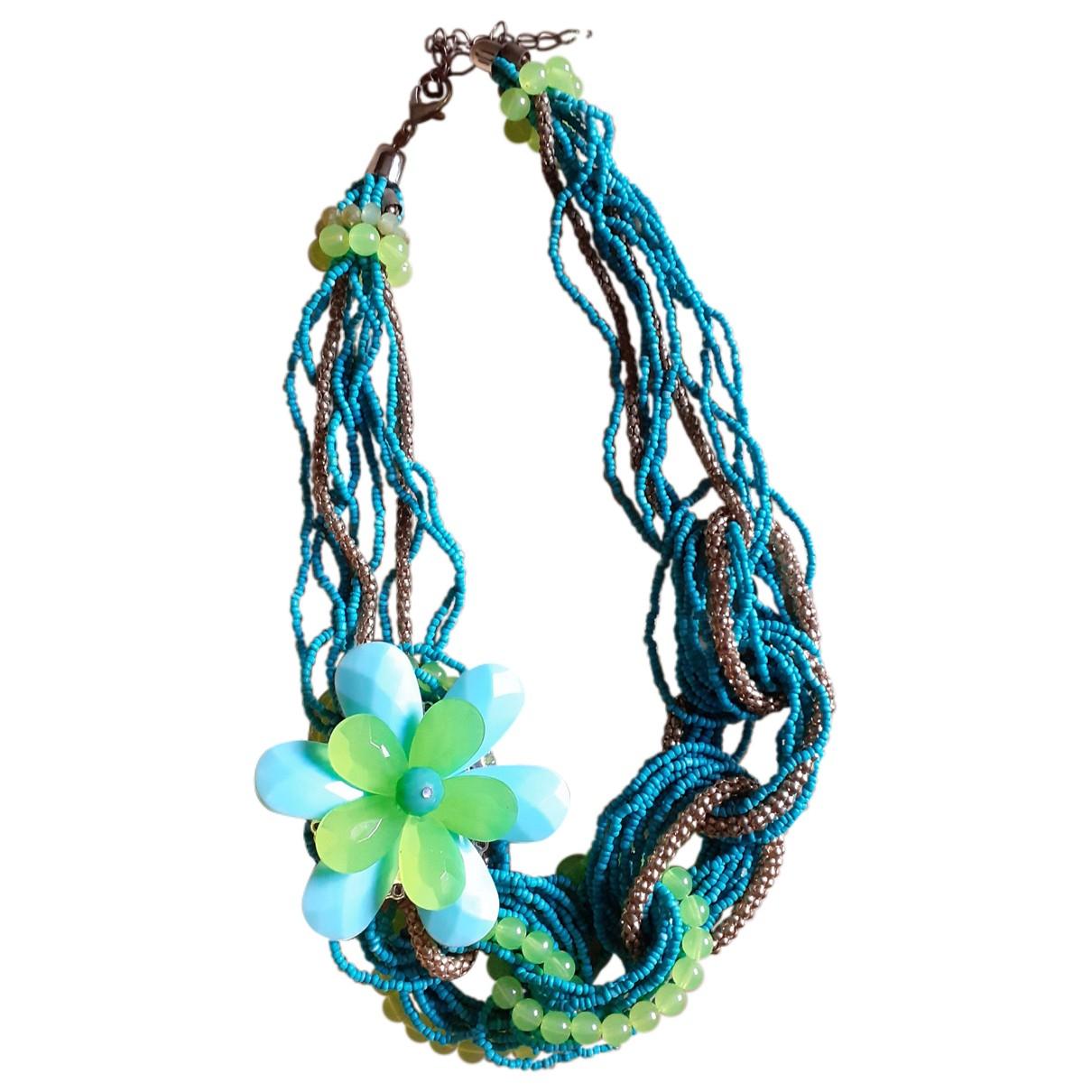- Collier Motifs Floraux pour femme en perles - turquoise