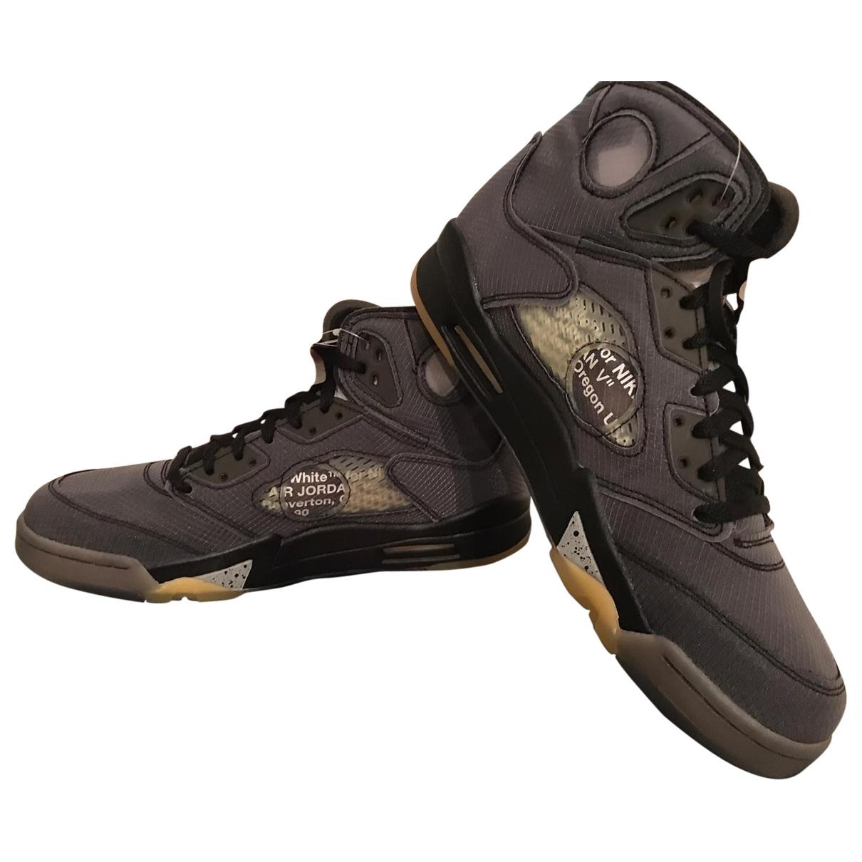 Nike X Off-white - Baskets Jordan 5 pour femme en cuir - gris