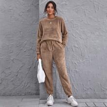 Solid Teddy Pullover & Drawstring Sweatpants Set