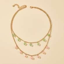 Rhinestone Decor Layered Necklace