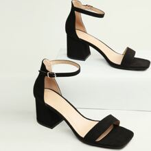 Mid Block Heel Open Toe Ankle Strap Sandals