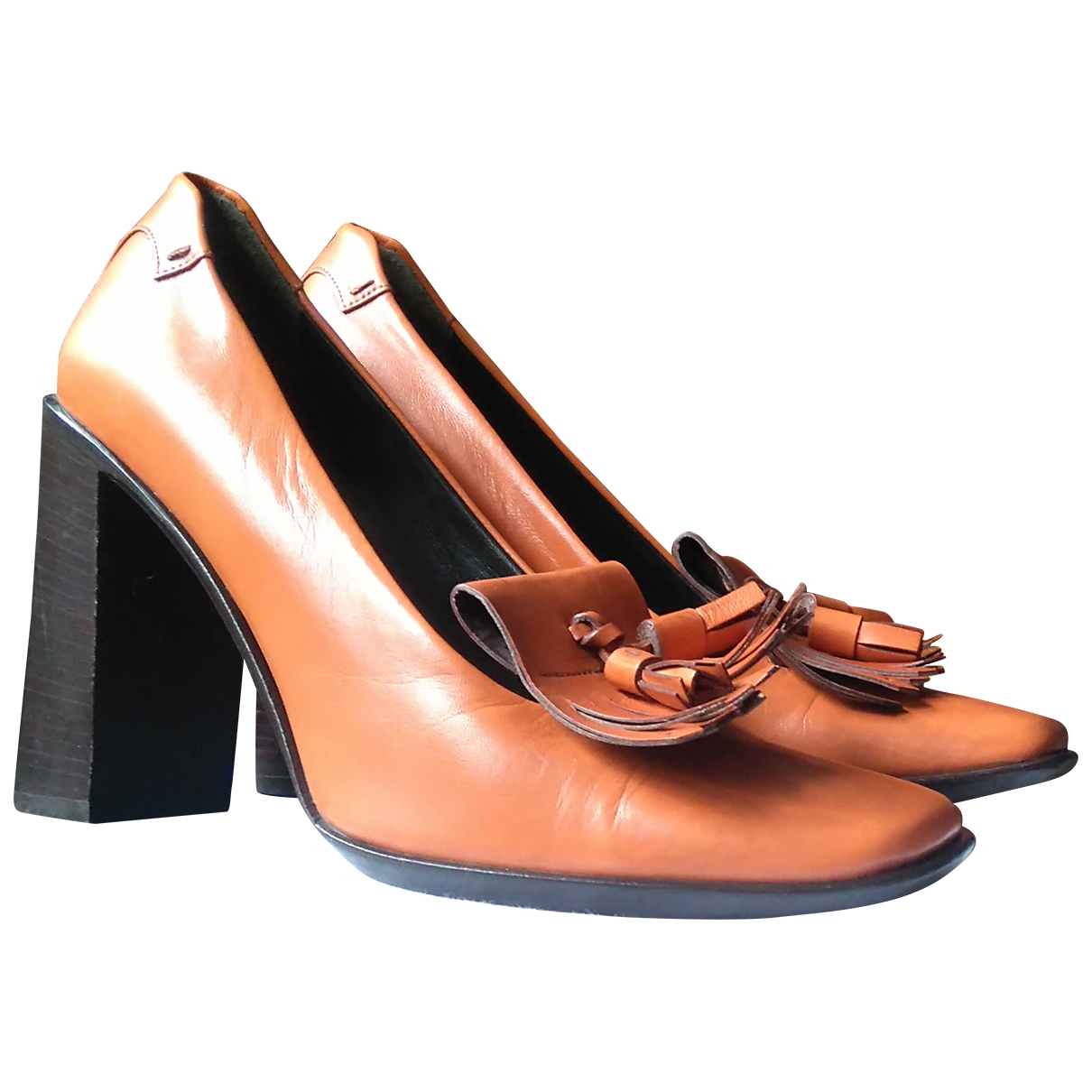 Prada - Escarpins   pour femme en cuir - orange