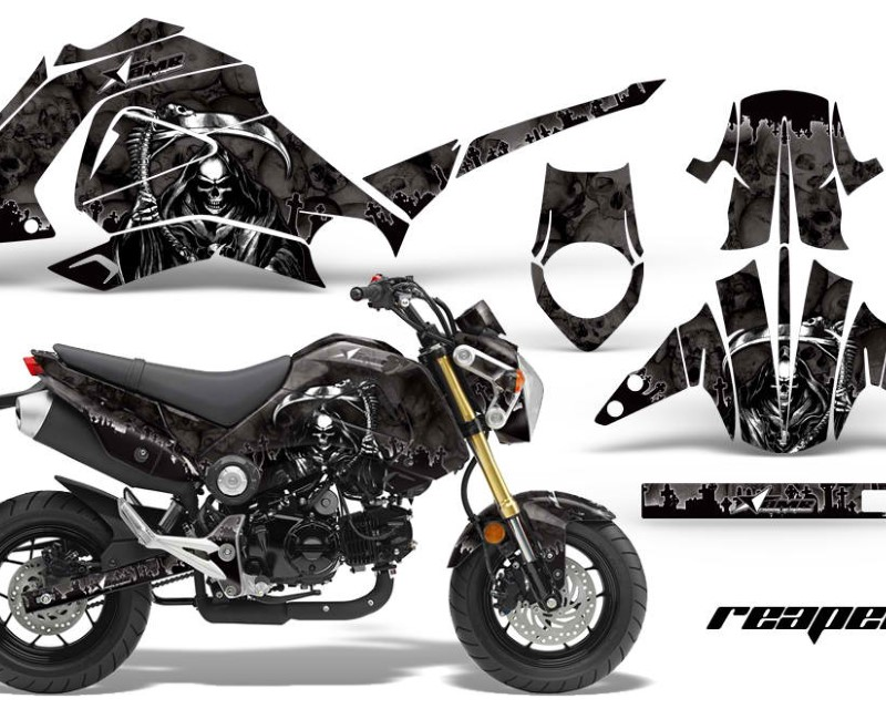 AMR Racing Motorcycle Graphics Kit Decal Sticker Wrap For Honda GROM 125 2013-2016áREAPER BLACK