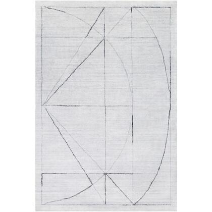 Hightower HTW-3010 2' x 3' Rectangle Modern Rug in Medium Gray  White