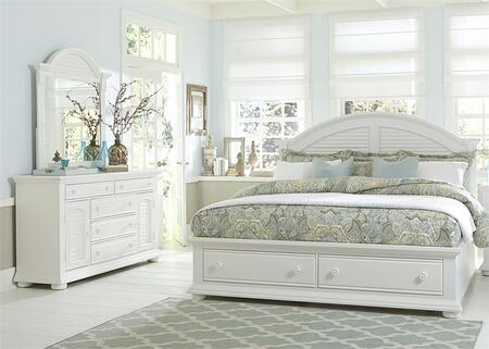 Summer House I Collection 607-BR-QSBDM 3-Piece Bedroom Set with Queen Storage Bed  Dresser and Mirror in Oyster White