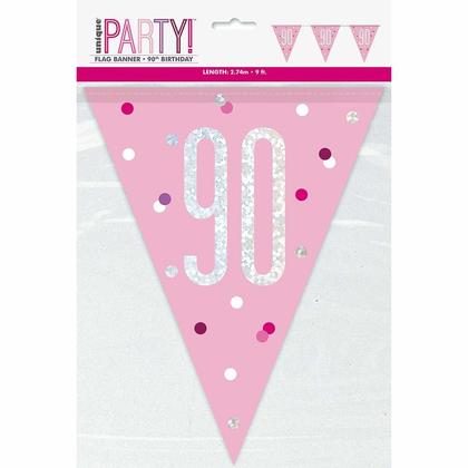 9ft Birthday Glitz Pink & Silver Prismatic Plastic Flag Banner, 1ct - Age 90