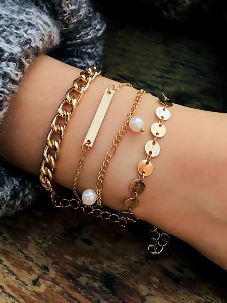 Yoins Gold Mixed Artificial Pearl Four-piece Bracelet Set