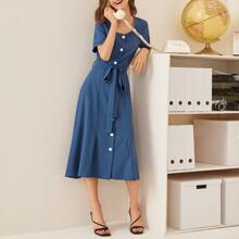 Square Neck Button Through Belted Dress