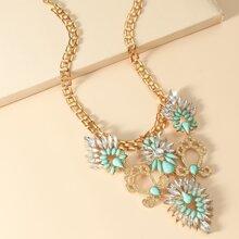 Gemstone & Rhinestone Decor Necklace