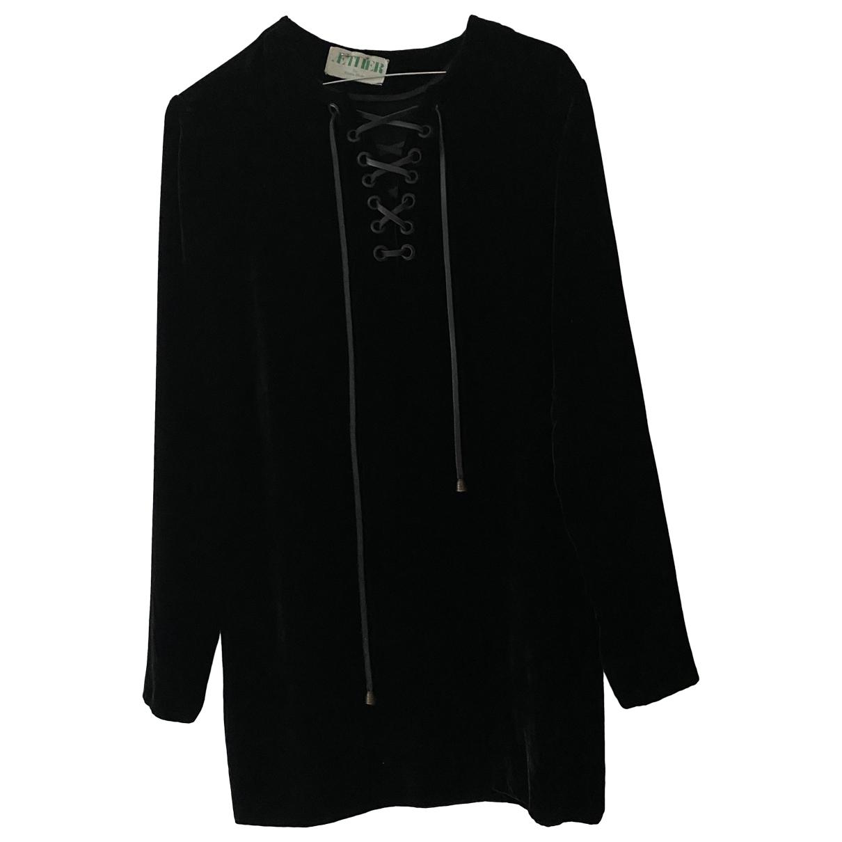 Aether \N Kleid in  Schwarz Samt