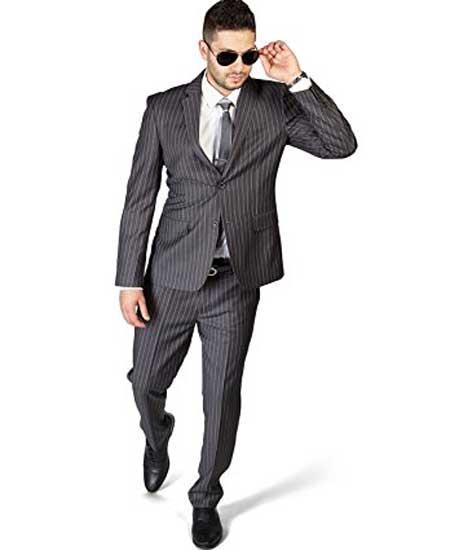 Cotton Grey 2 Button Pinstripe Notch Lapel Flat Front Pants Suit