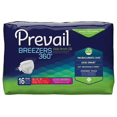 Prevail Briefs Size 1 Unscented, Small/Medium - 16.0 ea