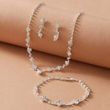4pcs Rhinestone Decor Necklace & Earrings & Bracelet