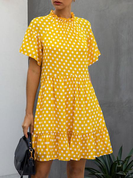 Milanoo Summer Dress Jewel Neck Polka Dot Yellow Beach Dress