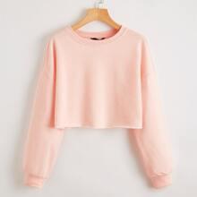 Drop Shoulder Solid Crop Pullover