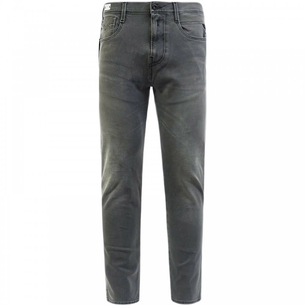 Replay Hyperflex Plus Slim Fit Jeans Grey Colour: GREY, Size: 30 32