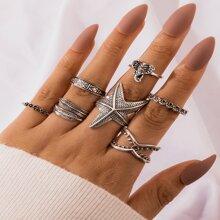 7 Stuecke Ring mit Seestern Dekor