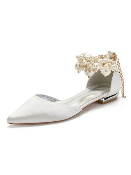 Milanoo Zapatos de boda de champan Perlas de punta puntiaguda de saten Zapatos de novia planos