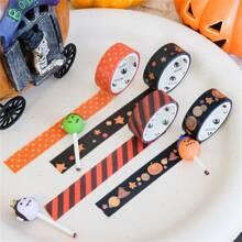 1 Rolle Zufaelliges dekoratives Klebeband mit Halloween Muster