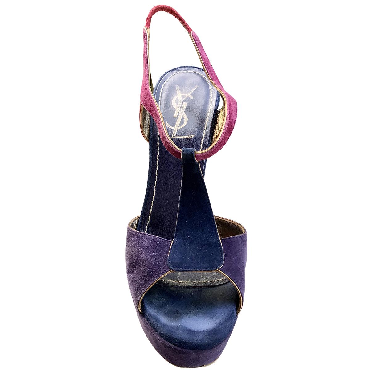 Yves Saint Laurent Tribute Purple Suede Sandals for Women 37 EU