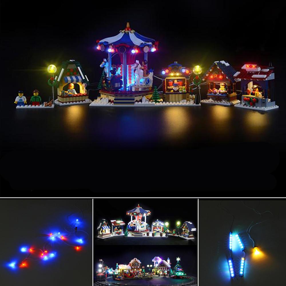 LED Light Kit For Block LEGO 10235 Christmas Winter Village Market Blocks Accessories Decor Toys Set