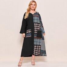 Plus Double Pocket Patchwork Print Spliced Dress