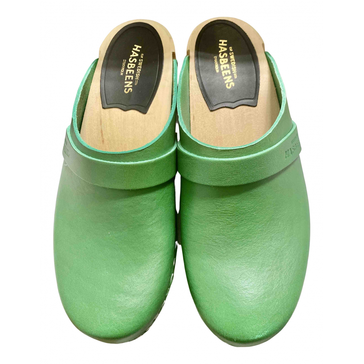 Swedish Hasbeens \N Green Leather Mules & Clogs for Women 36 EU