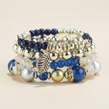 4 Stuecke Armband mit Blatt und Perlen Dekor