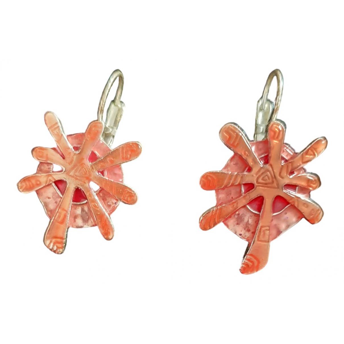 - Boucles doreilles   pour femme en plaque argent - orange