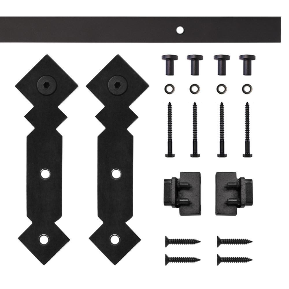 Black Double Diamond Rolling Single Furniture Door Kit with 5-ft. Rail