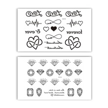 Diamond Gem & Heart Pattern Tattoo Stickers 2sheets