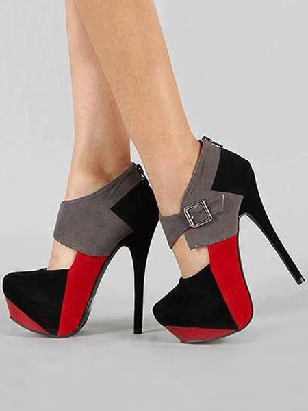 Milanoo Women Sexy Shoes Suede Platform Buckle Detail High Heels